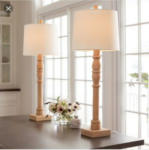 Threshold Set of Two Buffet Turned Wood Table Lamps for Sale in Washington, DC