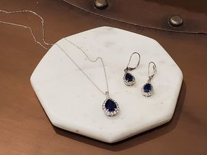Necklace and earrings, lab sapphire for Sale in Fremont, CA