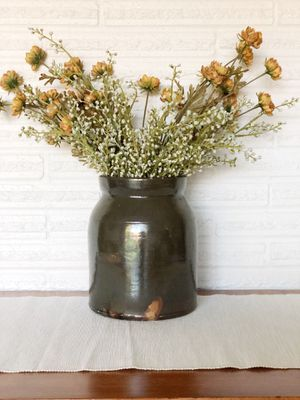 Vintage dark green stoneware crock / great for flowers or utensils / a few small chips around rim as seen in photos for Sale in Hillsboro, OR