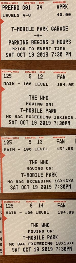 The Who - T-mobile park - oct 19 - 3 tickets - parking pass for Sale in Renton, WA