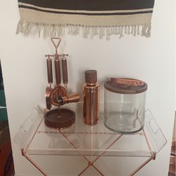 Copper And Acacia Wood Cocktail Mixing Set for Sale in Brooklyn,  NY