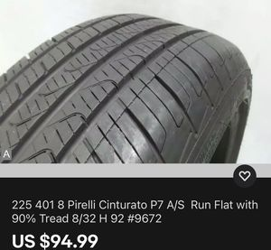225 401 8 Pirelli Cinturato P7 A/S Run Flat with 90% Tread 8/32 H 92 #9672 Used Tire for Sale in South Miami, FL