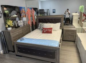 Brand new queen leather light bedroom set bed frame dresser mirror and 1 nightstand no mattress // Miriam's furniture 719 *East *9th* st *Hialeah * for Sale in Hollywood, FL