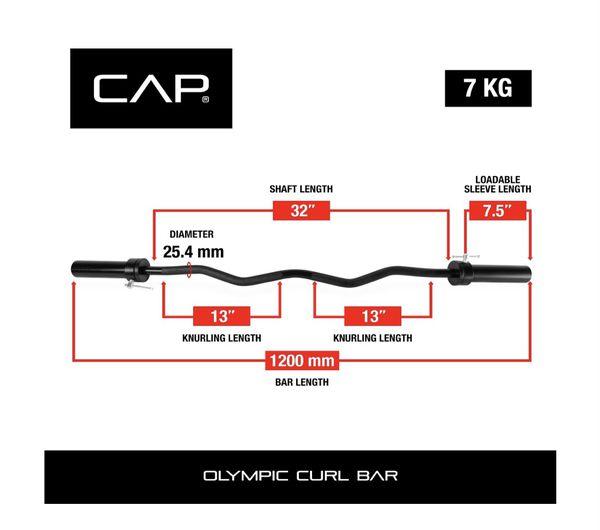 "CAP Barbell 47"" Olympic EZ Curl Bar - Black"