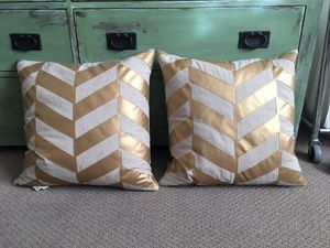Set of 2-20 x20 inch Gold Chevron Throw Pillows-$35.00 for Sale in Phoenix, AZ