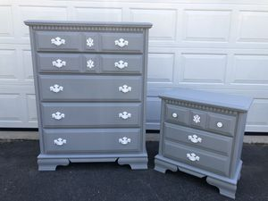 Bassett Furniture Solid Wood 5 Drawer Tallboy Dresser With Nightstand Gray With White Handles for Sale in Woodbridge, VA