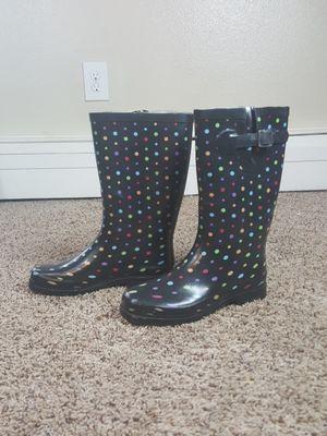 Merona Polka Dot Rain Boots Size 7 Mid Calf Rainbow Buckle Waterproof Rubber for Sale in Denver, CO