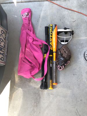 Girls softball tee, bat bag, mask, glove and bats for Sale in San Diego, CA