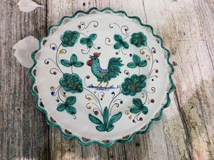 Italian Hand Painted Green Leaves Rooster Plate for Sale in Jonestown, PA