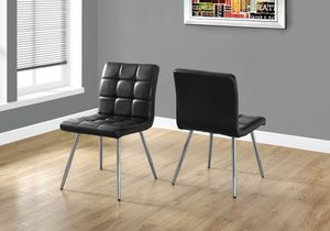 Set of 2 Contemporary Quilted Leather Dining Chairs - Black for Sale in Los Angeles, CA