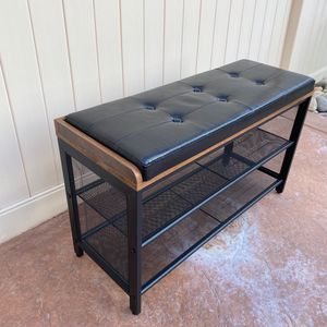 Storage Chests, Shoe Bench, Padded Storage Bench with Mesh Shelf, Shoe Rack, Metal Frame, Easy Assembly, Space Saving, Industrial, Black Imitation Le for Sale in Corona, CA