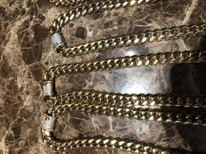 14k gold bonded Miami Cuban diamond clasp necklace and bracelet set for Sale in Moultrie, GA