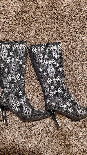Beaded ladies boots like new heels for Sale in Northumberland, PA