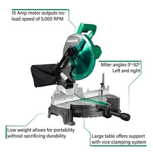 Metabo HPT (was Hitachi Power Tools) 10-in 15-Amp Single Bevel Compound Miter Saw for Sale in Providence, RI