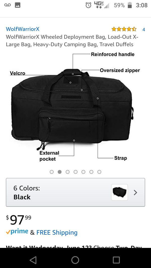 Large black military issue rolling duffle bag