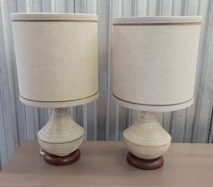 Pair of MCM style Table Lamps with 2 free bulbs for Sale in Seattle, WA