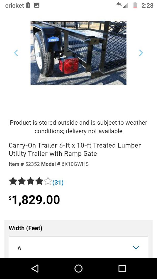 Selling a 6x 10 carry one utility trailer