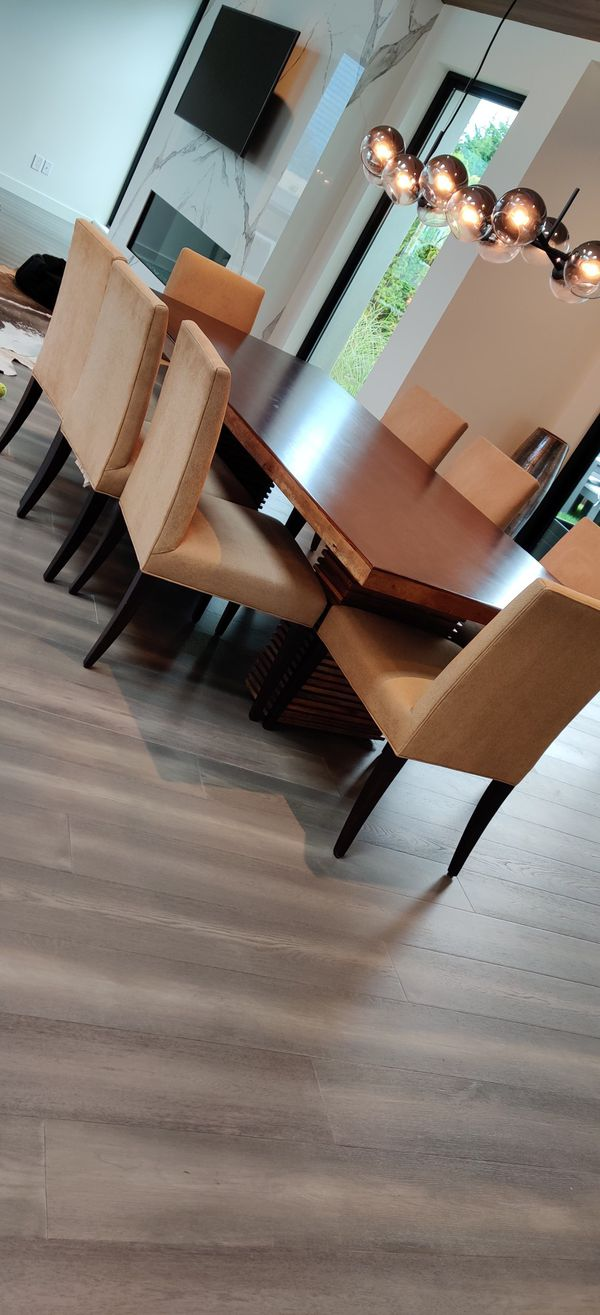 Crate & Barrel Reclaimed Wood Dining Set with 10 Chairs & Hutch