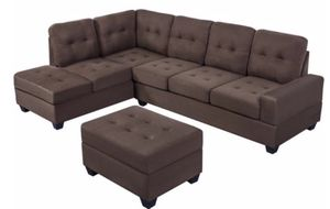 Brown 3-Piece Sectional Sofa with Cup Holder and Storage Ottoman for Sale in Dallas, TX