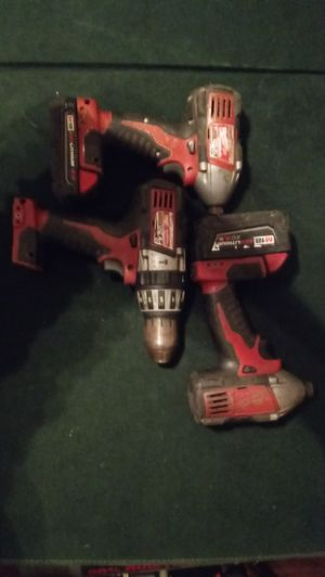 Milwaukee drills 2x battery 2x impact 1x hammer drill for Sale in Austin, TX