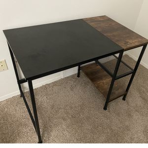 Home Office Computer Desk,Small Study Writing Desk with Wooden Storage Shelf,2-Tier Industrial Morden Laptop Table with Splice Board,40 inches(Black O for Sale in Canton, MI