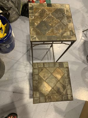 Cute Stone and Metal Outdoor SideTable set for Sale in Portland, OR