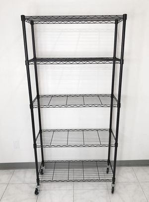 "New $70 Metal 5-Shelf Shelving Storage Unit Wire Organizer Rack Adjustable w/ Wheel Casters 36x14x74"" for Sale in South El Monte, CA"