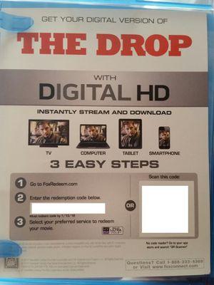 The Drop Digital HD Code Movie moviesanywhere Tom Hardy James Gandolfini Noomi Rapace for Sale in Los Angeles, CA