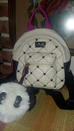 Betsey Johnson mini backpack panda puffy charm for Sale in Lakewood, CA