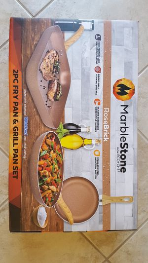 """MARBLESTONE 2PC FRY PAN & GRILL PAN SET 11"""" GRILL PAN & 9"""" & 10.5 FRY PANS for Sale in Escondido, CA"""