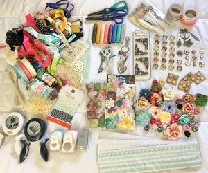Scrapbook craft supplies, paper flowers, ribbon, gelato colors, punches, sticky embellishments, scissors! for Sale in Costa Mesa, CA