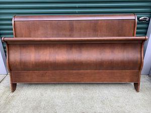 King size Sleigh Bed solid wood frame made in Canada. for Sale in Eugene, OR