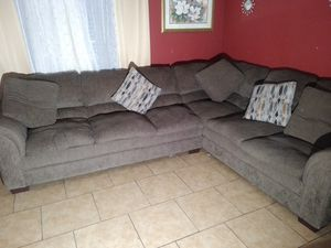 Fabric Gray sectional Couch and loveseat in good shape for Sale in Hutto, TX