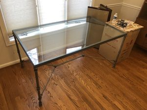 Dining Table - metal frame (heavy) glass top + 4 chairs for Sale in Vienna, VA
