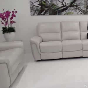 Grey Leather Power Reclining Sofa for Sale in Hialeah, FL