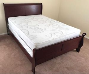 Brand New Queen Size Cherry Wood Sleigh Bed + Mattress Set for Sale in Wheaton-Glenmont, MD