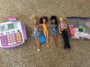 Barbie Set - Dolls, Clothes and Cash Register for Sale in Las Vegas, NV