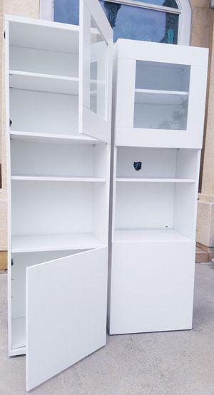 [PLS READ] Ikea Double Glass Door Storage Bookcase Bookshelves Curio Pantry Hutch Display Shelves Stand Unit Media Entertainment Bath Kitcken for Sale in Monterey Park, CA