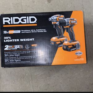 RIDGID 18-Volt Brushless SubCompact Drill Driver and Impact Driver Combo Kit with (2) 2.0 Ah Batteries, Charger and Bag for Sale in Ceres, CA