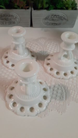 3 vintage milk glass candle holders for Sale in Wolf Summit, WV