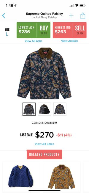 Supreme Quilted Paisley Navy Heavy Jacket for Sale in Sun City, TX