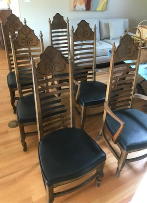 Drexel heritage Esperanto Spanish Mediterranean ladder back chairs (six) for Sale in Victoria, TX