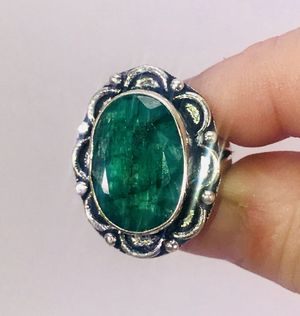 Natural Green Sakota Mine Emerald large oval stone & .925 stamped sterling silver ring size 7 NEW! for Sale in Carrollton, TX