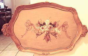 VINTAGE ALL WOOD PICTURE OR SERVING TRAY HAND PAINTED for Sale in Yuma, AZ