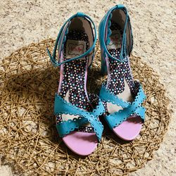 Bettie Page Shoes by Ellie- Kitten Heels Mini D'orsay Blue and Pink Open Toe for Sale in San Antonio,  TX