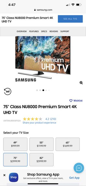 Samsung NU8000 75 Inch 4k TV for Sale in Federal Way, WA
