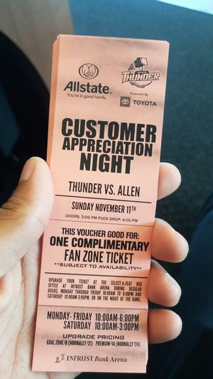 Thunder vs allen fan zone tix for Sale in Derby, KS