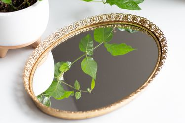 Vintage Oval Brass Vanity Mirror Or Tray for Sale in Tualatin,  OR