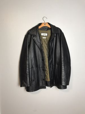Vintage Wilsons M Julian Black Leather Car Coat Thinsulate Bomber Jacket Mens XL for Sale in French Creek, WV