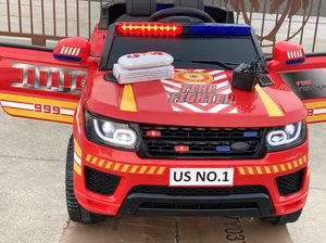 BRAND NEW Fire Fighter SUV 12volt REMOTE CONTROL MODEL electric kid ride on car power wheels come with BLUETOOTH MUSIC for Sale in Lake Forest, CA